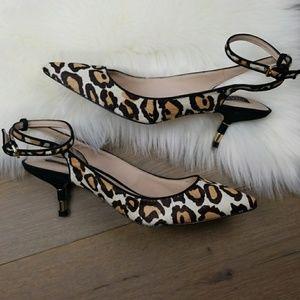 Zara Womens pointy leopard kitten heel